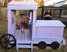purple girl's train play-set