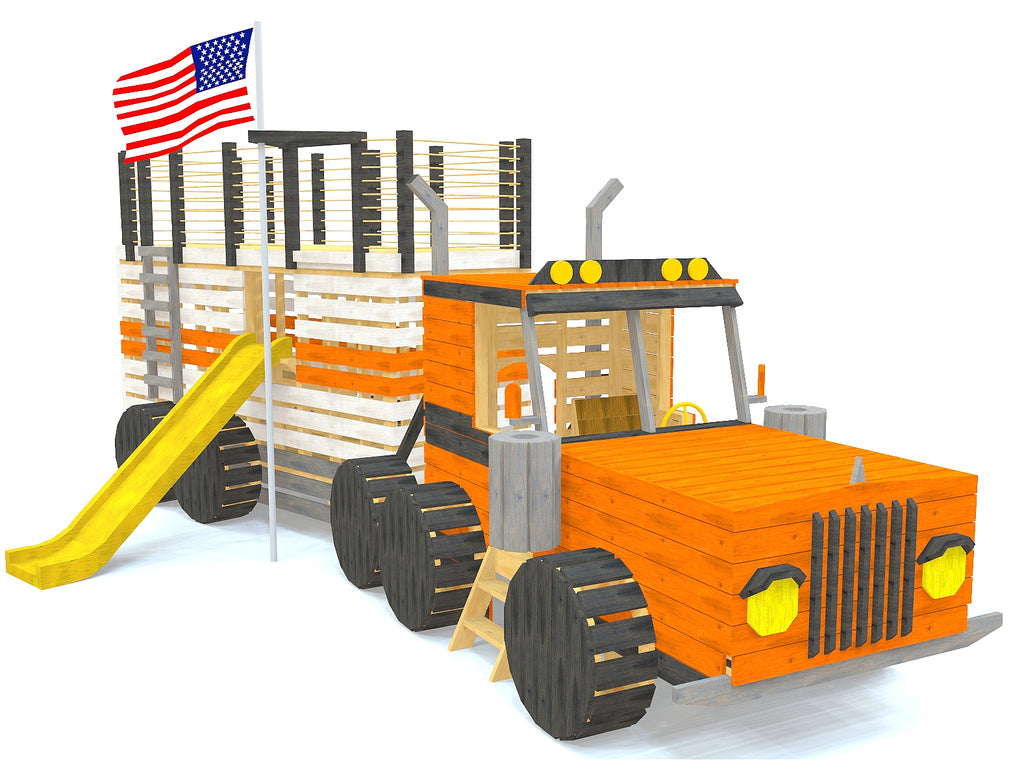Orange big rig truck playset with slide and firepole