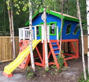 A red, green and blue take on the Slanted Shack playhouse plan.