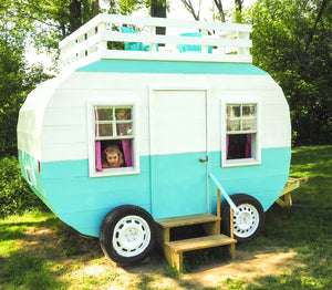 Wooden play-set camper with girl
