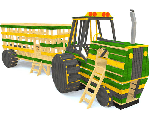wooden john deer tractor playhouse plan with hay trailer
