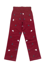 Hissing Cat Embroidered Workpant UNISEX - Burgundy