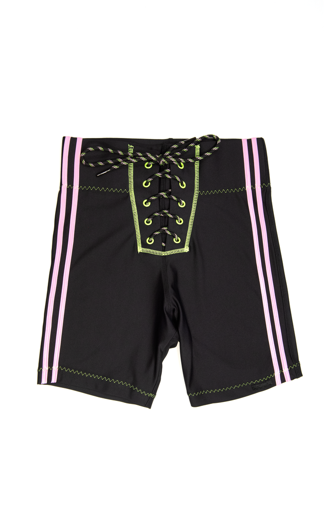 Lace Up Biker Short - Pink/Green