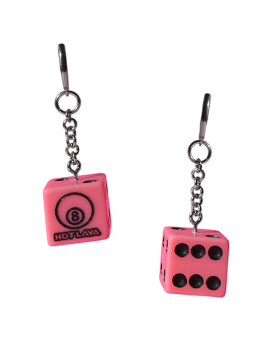 Pinkie Dice Dangly Earrings