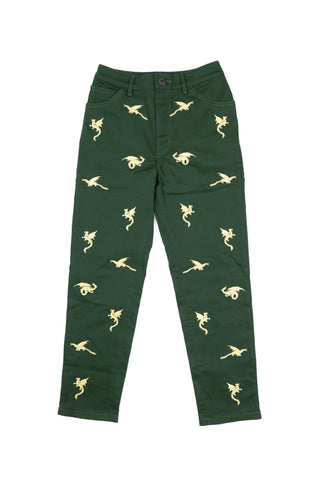 Embroidered Mystic Dragon Trousers - Green