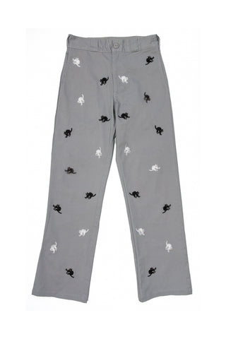 Hissing Cat Embroidered Workpant UNISEX - Grey