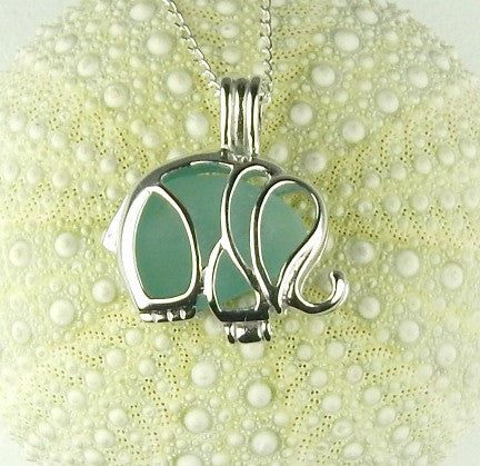 REAL Sea Glass Jewelry Elephant Locket With Turquoise Seaglass In Sterling