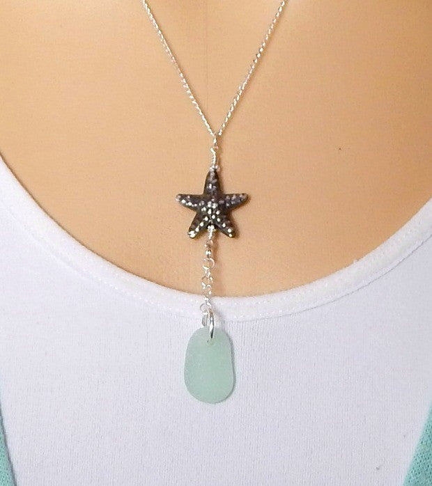 GENUINE Aqua Sea Glass Jewelry Y Necklace With Fine Silver Starfish Necklace