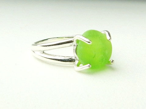 Genuine Sea Glass Ring Sterling Silver Solitaire Ring In Lime Green