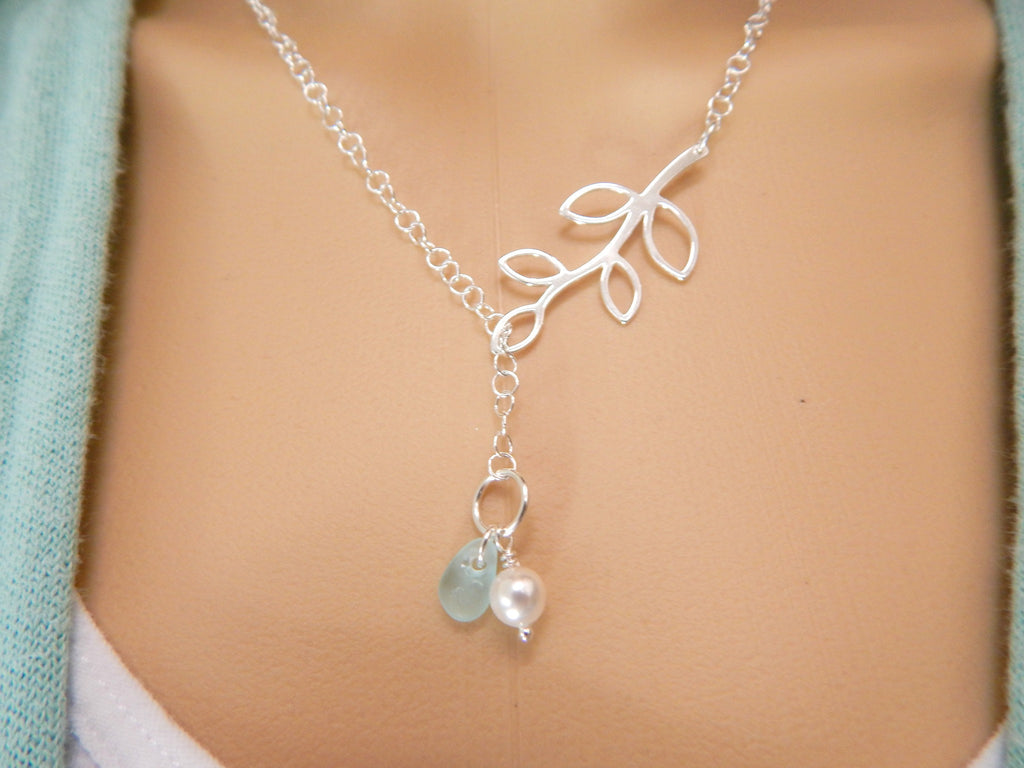Sea Glass Jewelry Lariat Necklace