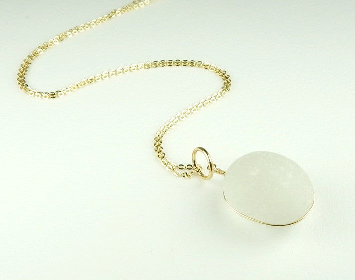 White English Sea Glass Pendant Necklace Wrapped In Gold