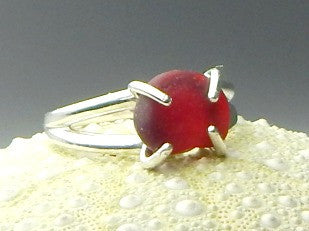 Sterling Silver And Genuine Rare Red Sea Glass Ring