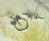 Statement Necklace Sterling Silver GENUINE Sea Glass Necklace Pearl Jewelry With Dragonfly Accent