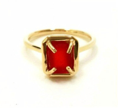 Red sea glass ring in 14 Karat Gold