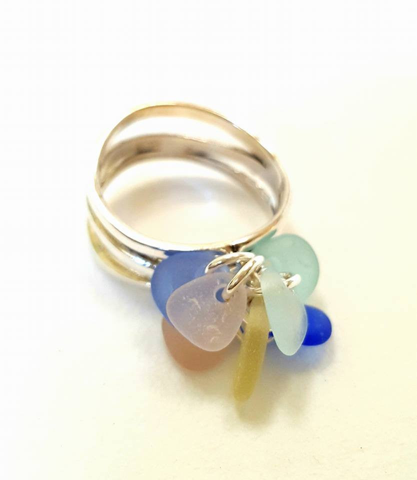 GENUINE Sea Glass Ring Pastel Sea Glass In Sterling Silver Wave Design