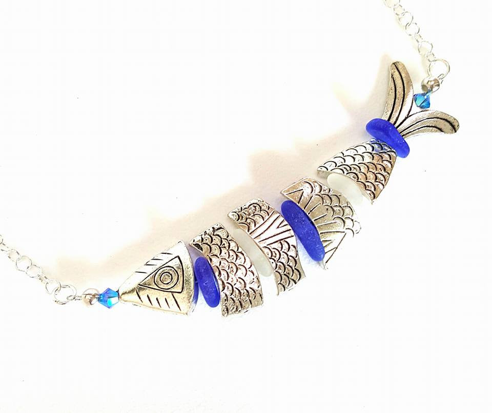 Statement Necklace Fish And Sea Glass Necklace In Silver And Blue