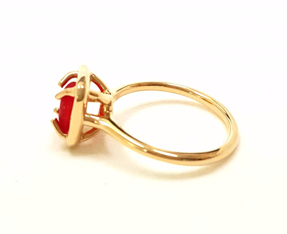 Genuine Rare Red Sea Glass Ring In 14 Karat Gold