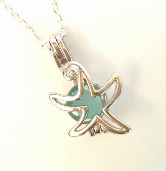 Starfish Locket Necklace GENUINE Sea Glass Jewelry Sterling Silver And Aqua