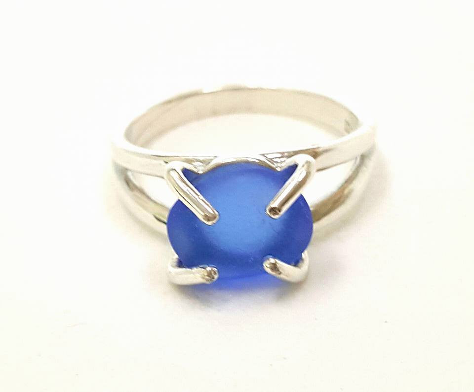 Genuine Sea Glass Ring Sterling Silver Solitaire Ring In Blue Seaglass