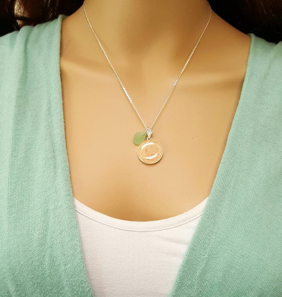 Sand And Sea Glass Necklace With Genuine Sea Foam Seaglass