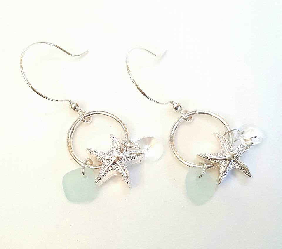 Starfish Jewelry GENUINE Sea Glass Earrings In Aqua And Silver
