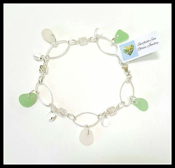 Sea Foam Sea Glass Bracelet In Sterling Silver.