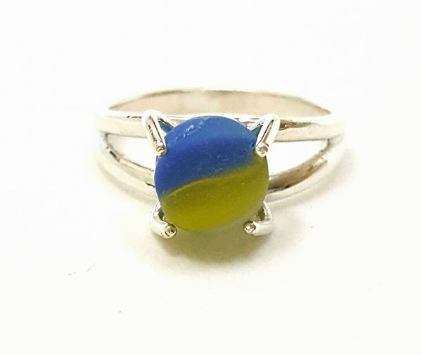 GENUINE Sea Glass Ring Seaglass Marble In Sterling Silver