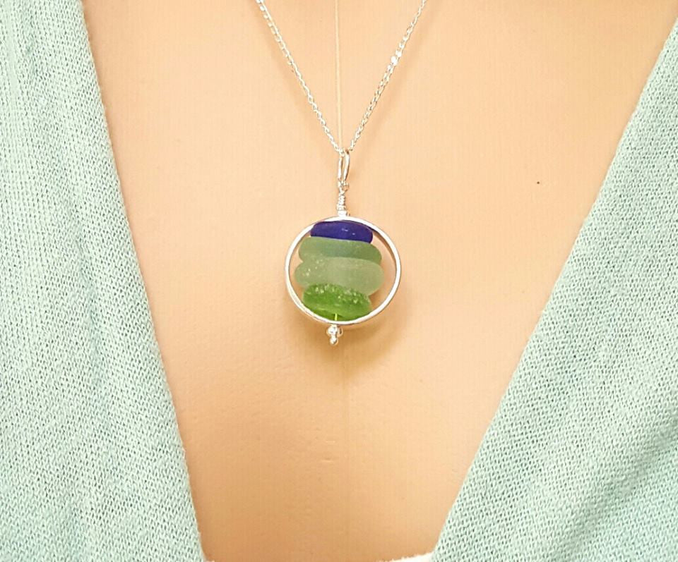 GENUINE Sea Glass Jewelry In Sterling Silver Beach Glass Necklace