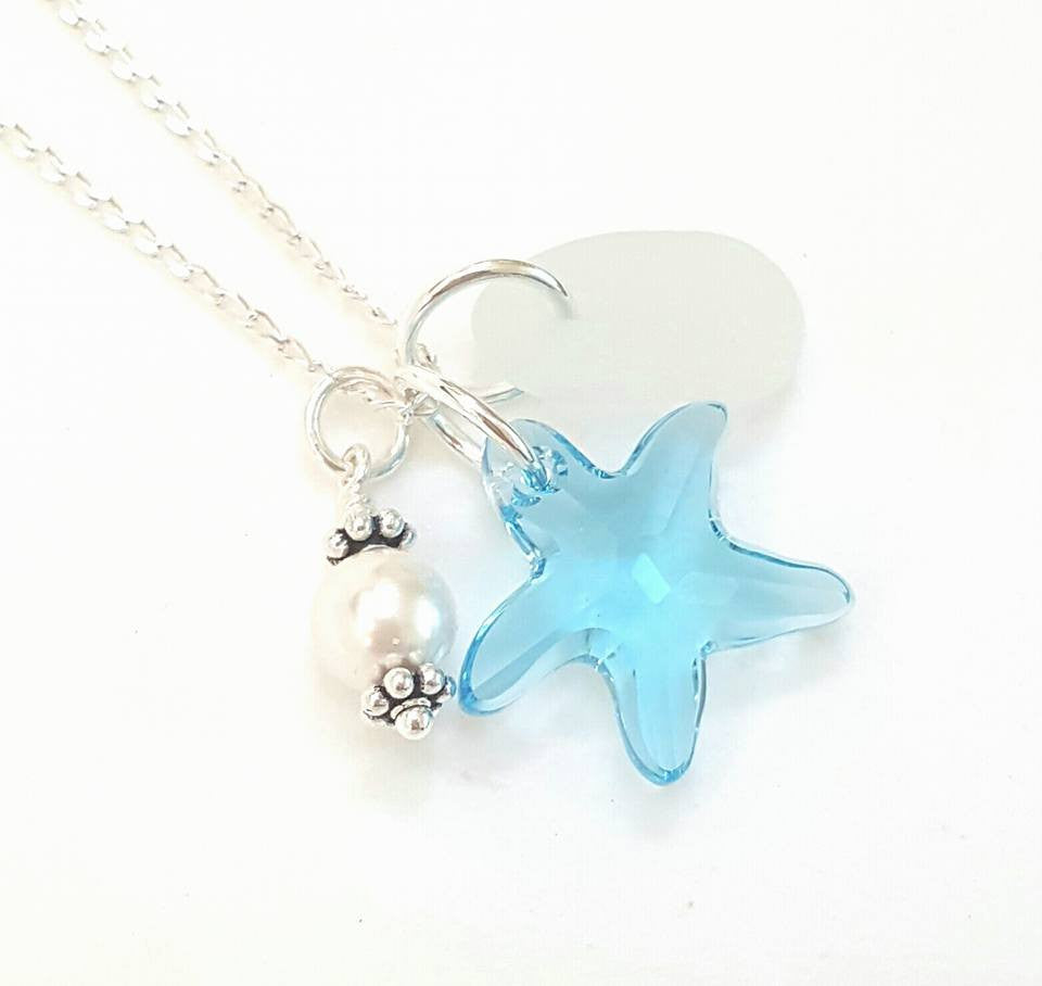 Genuine Beach Glass Necklace With Blue Crystal Starfish