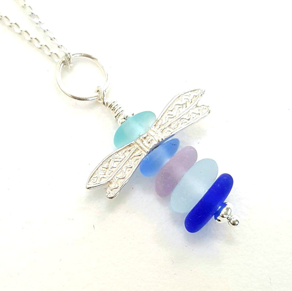 Dragonfly Necklace Genuine Sea Glass Jewelry In Pastels And Sterling Silver