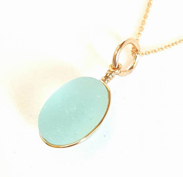 Genuine Green Heart Shaped Beach Glass and gold plated necklace