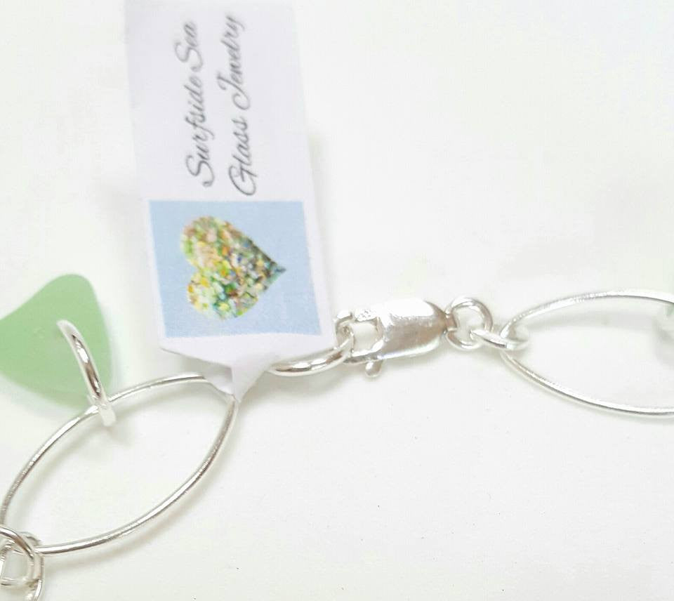 GENUINE Sea Glass Bracelet Sterling Silver With Sea Foam Seaglass