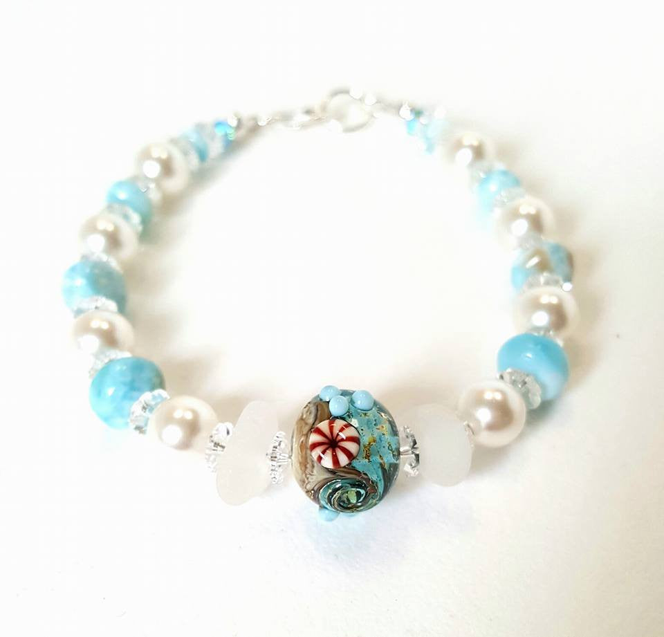 GENUINE Sea Glass Bracelet With Larimar