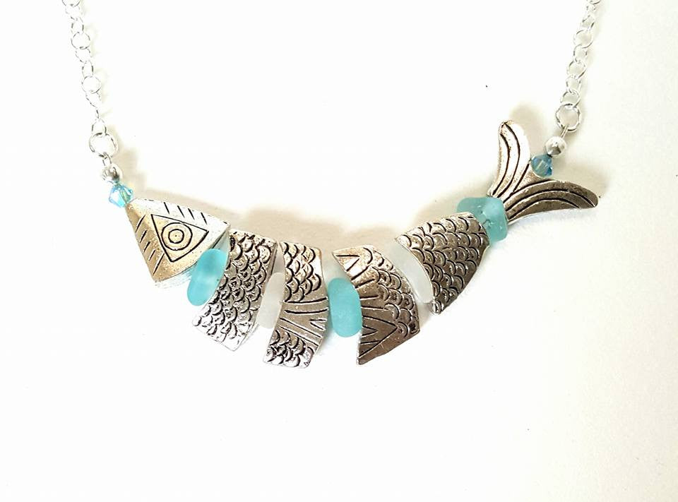 Fish Jewelry And Sea Glass Necklace In Silver And Deep Aqua Blue Seaglass