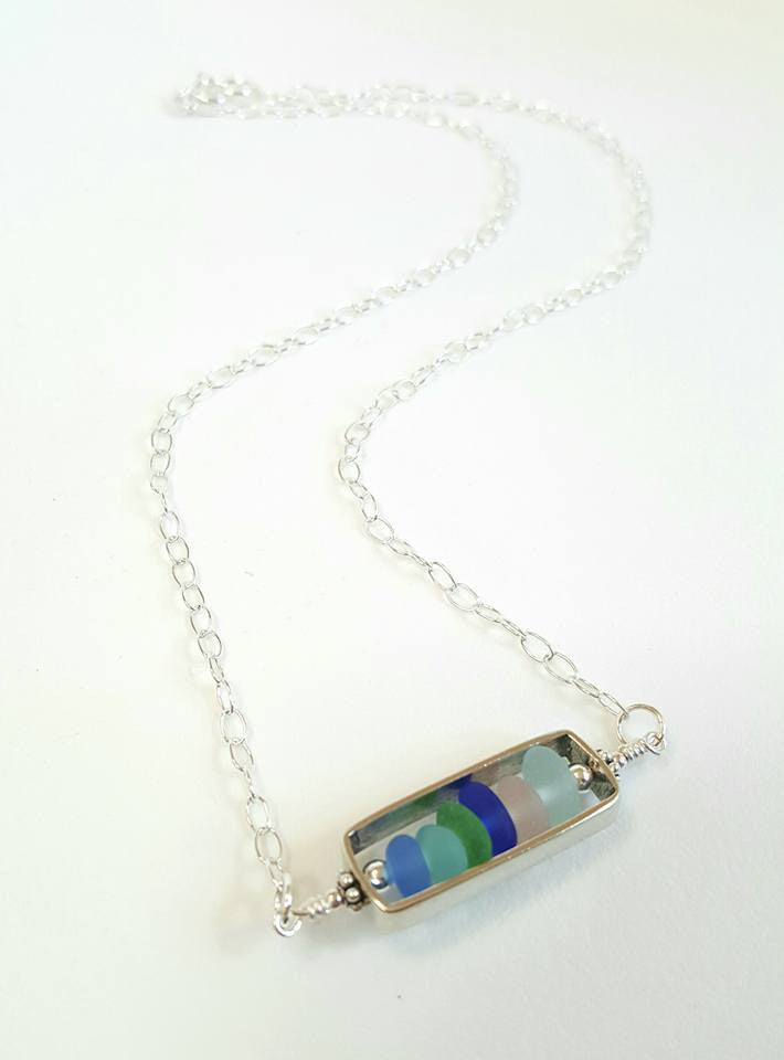 Bar Necklace With GENUINE Sea Glass In Sterling Silver