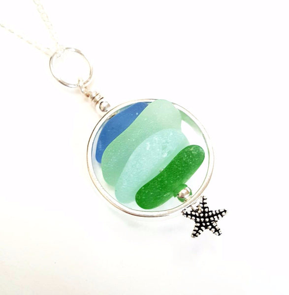 Sea Glass Necklace With Starfish