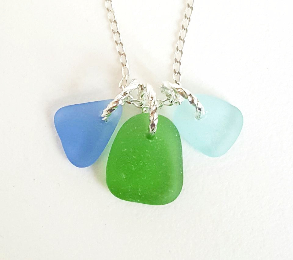 Beach Glass Necklace Trio of Green And Blues