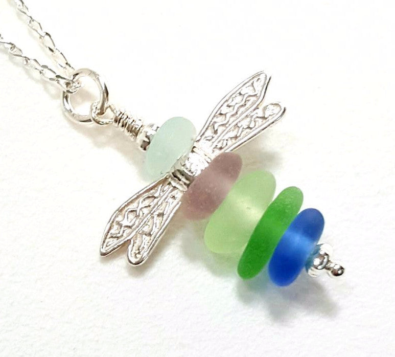Sea Glass Dragonfly Necklace