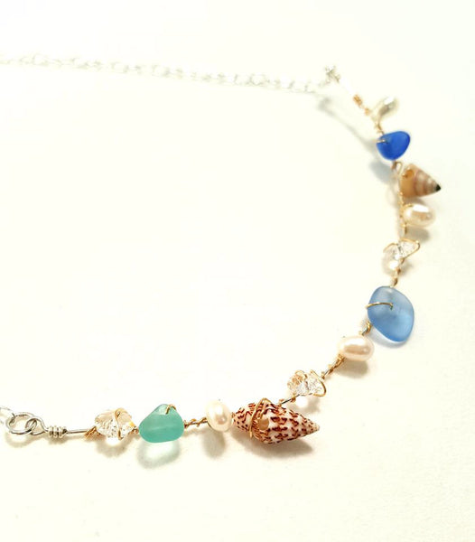 Sea Glass, Pearl And Shell Necklace In Gold And Silver.