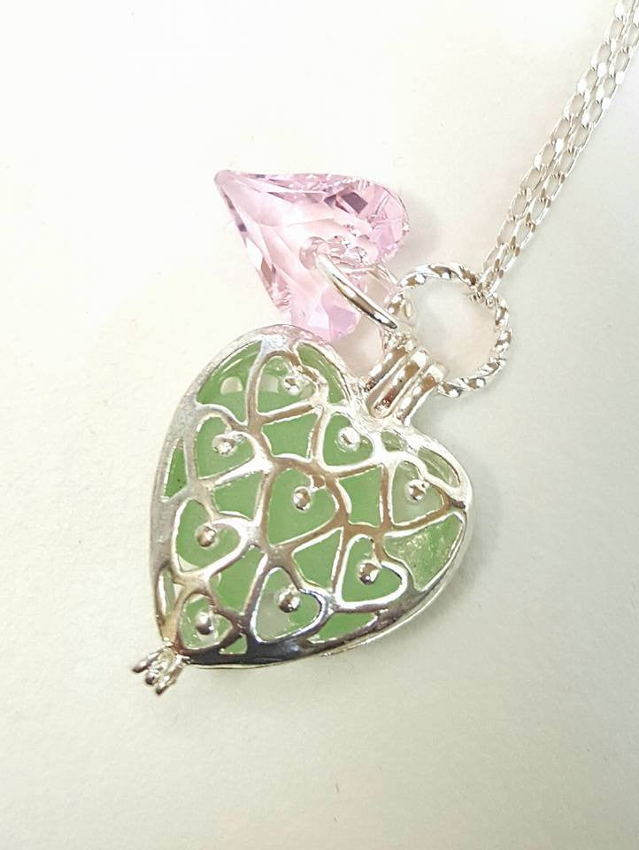 GENUINE Sea Glass Necklace Heart Locket In Sea Foam