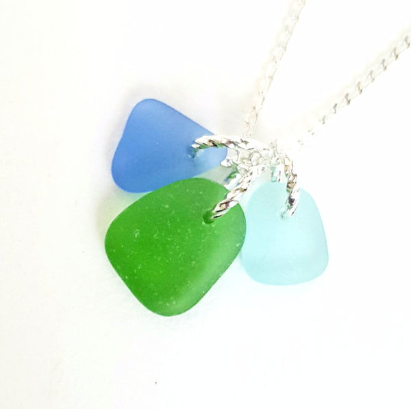 Trio sea glass necklace