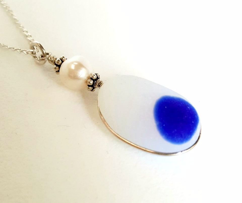 Davenport Sea Glass Necklace Blue And White Rare Beach Glass