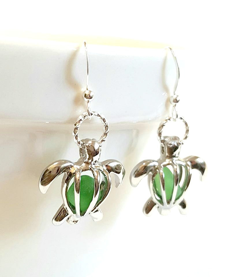 Turtle Earrings GENUINE Sea Glass Jewelry