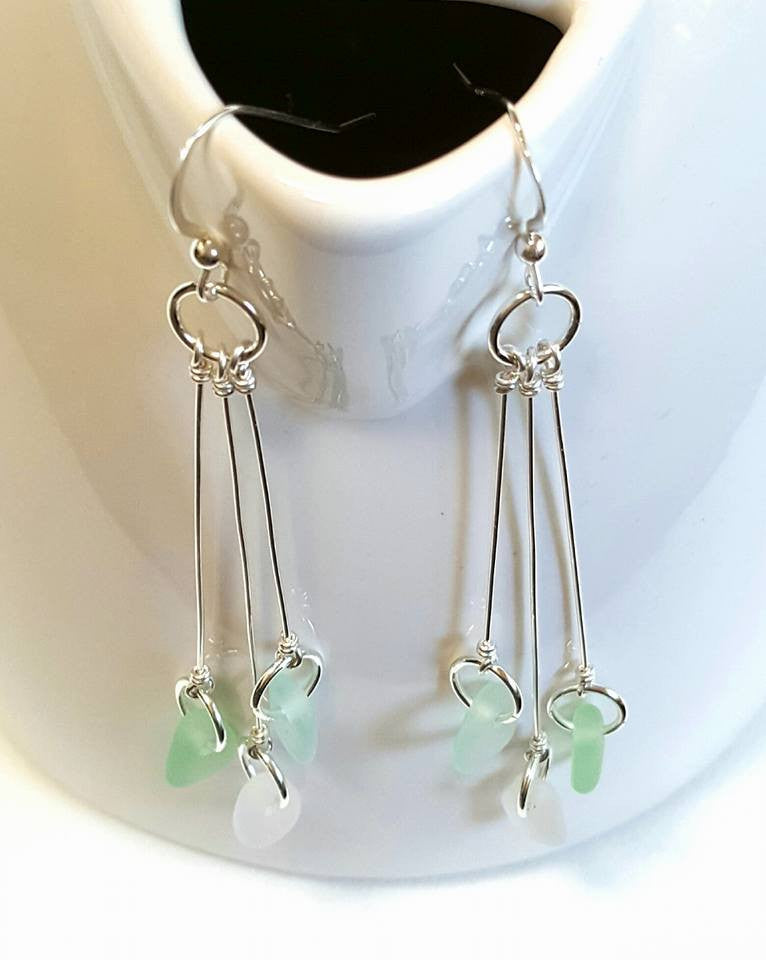 GENUINE Sea Glass Earrings In Sterling With Aqua, Sea Foam And White Seaglass