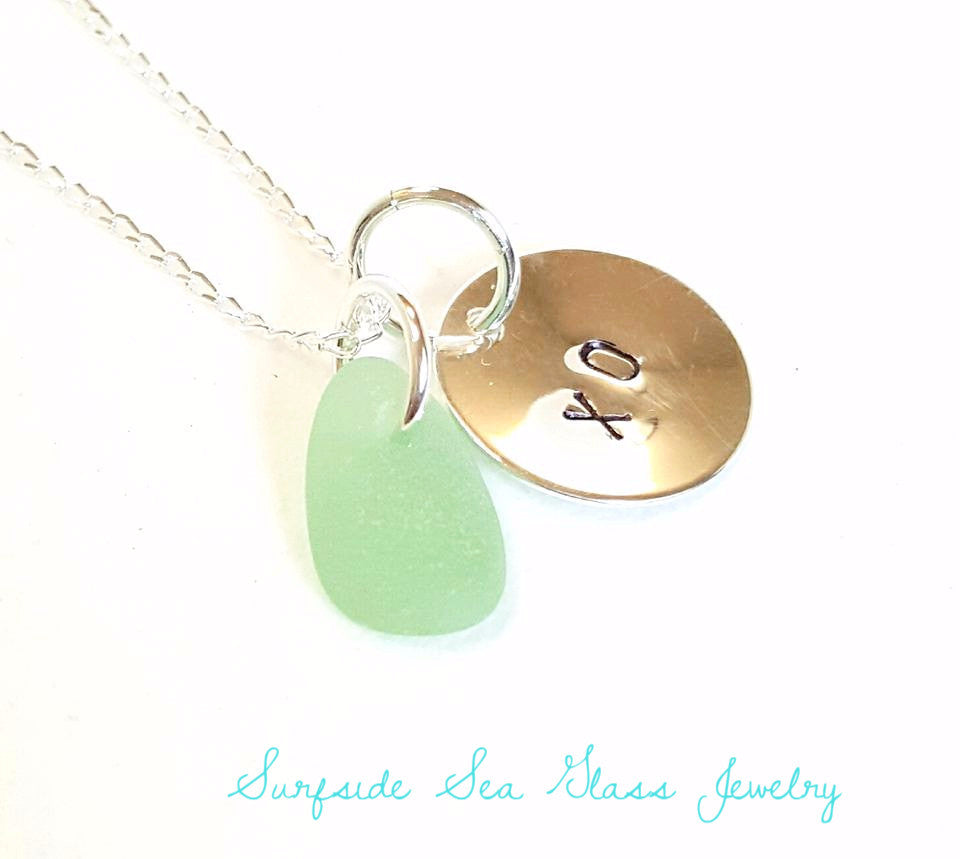 Personalized sea glass necklace XO