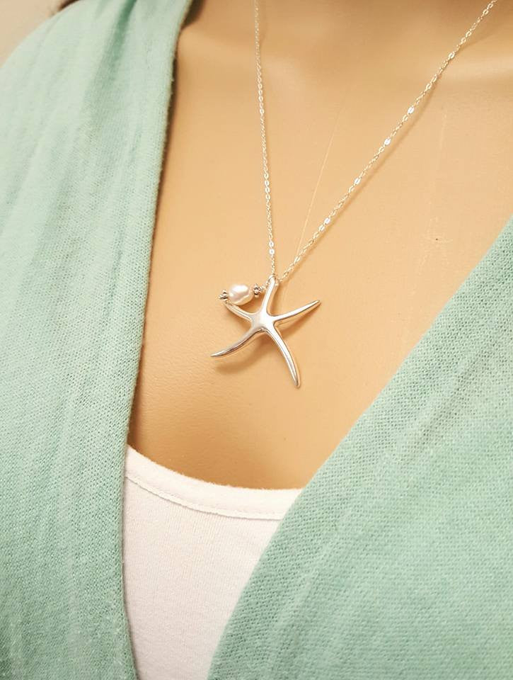Starfish Necklace Sterling Silver Beach Jewelry With Pearl Beachy