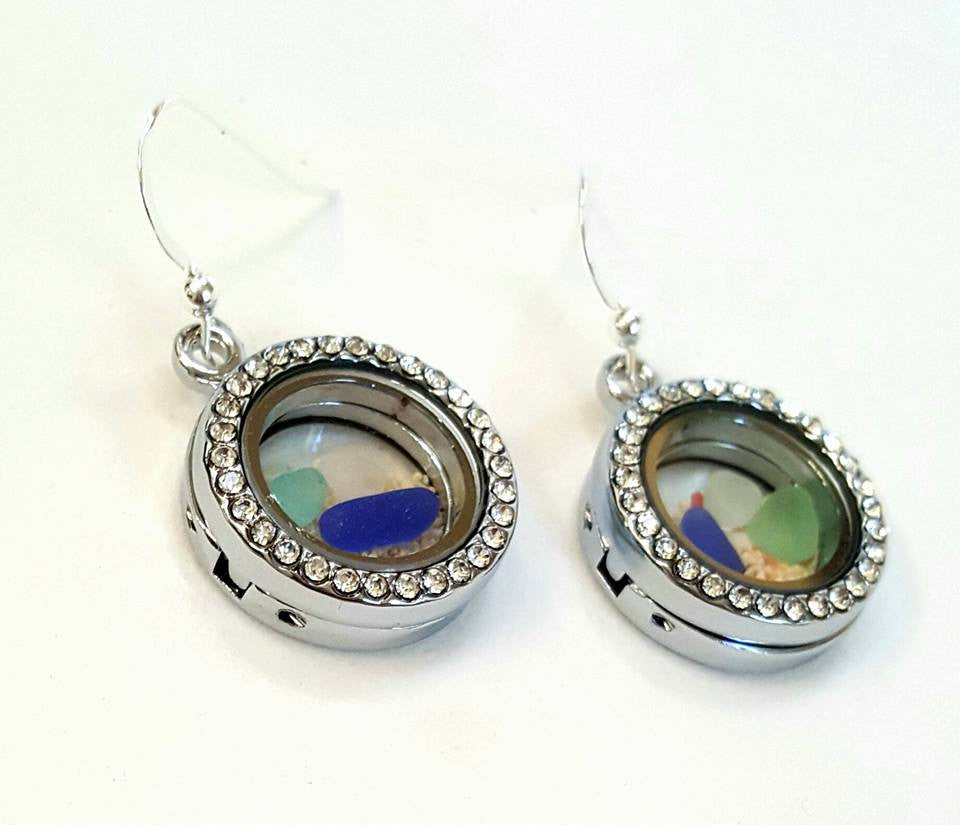 Sand Earrings With GENUINE Sea Glass In Lockets