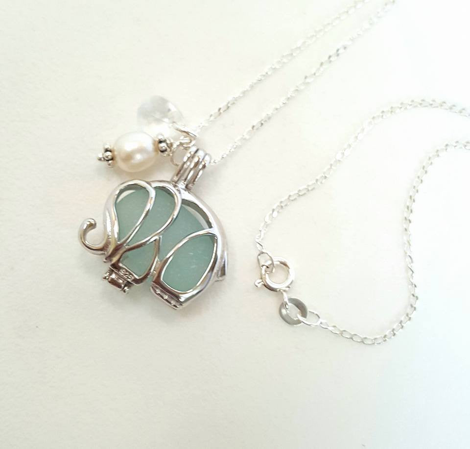 Elephant Necklace Genuine Aqua Sea Glass In Sterling Locket
