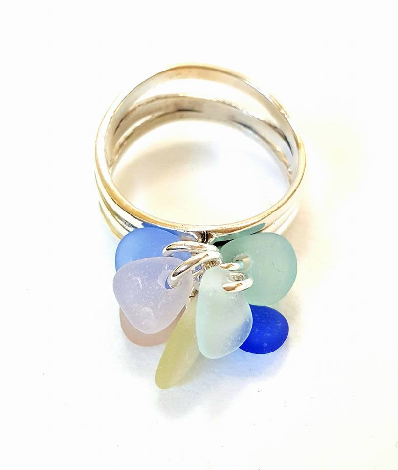 GENUINE Sea Glass Ring In Sterling Silver With Wave.