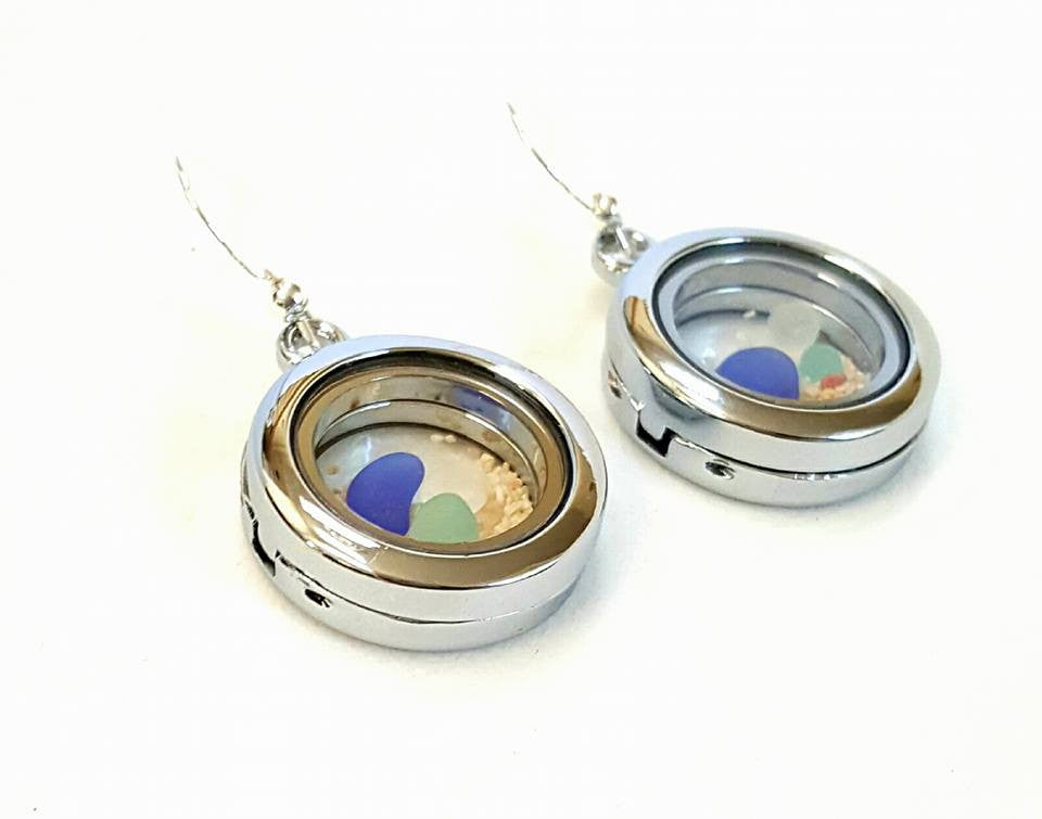Beach Earrings GENUINE Sea Glass And Sand Earrings In Lockets